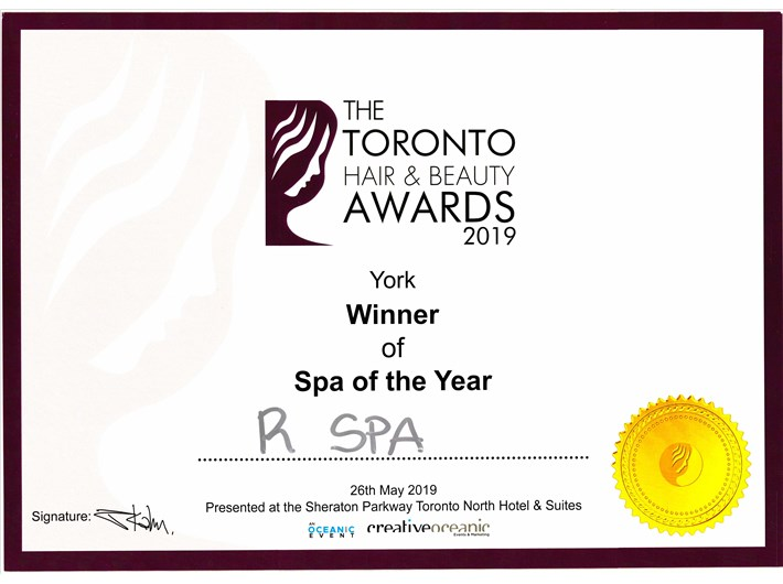 In May 2019, R Spa Canada was awarded the 'York - SPA of the Year' of the Toronto Hair & Beauty Awards 2019 for the second year in a row.